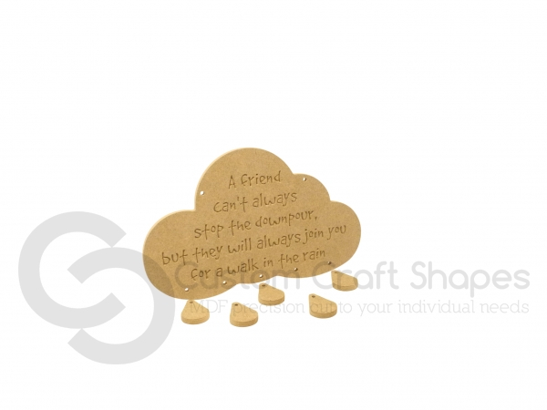 A friend can't always stop a downpour...Engraved cloud and raindrops (6mm)