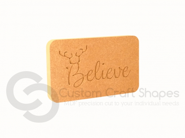 Believe (with Antlers) Plaque (18mm)