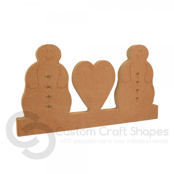 Blobby Snowman Couple with Heart (18mm)
