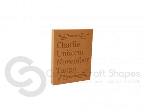 Charlie Uniform November Tango, Engraved Plaque (18mm)