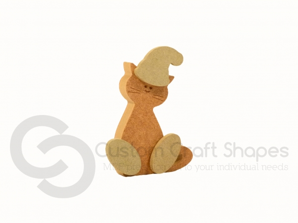 CHRISTMAS Wonky Cat with Engraved Face and 3D Feet/Hat (18mm)