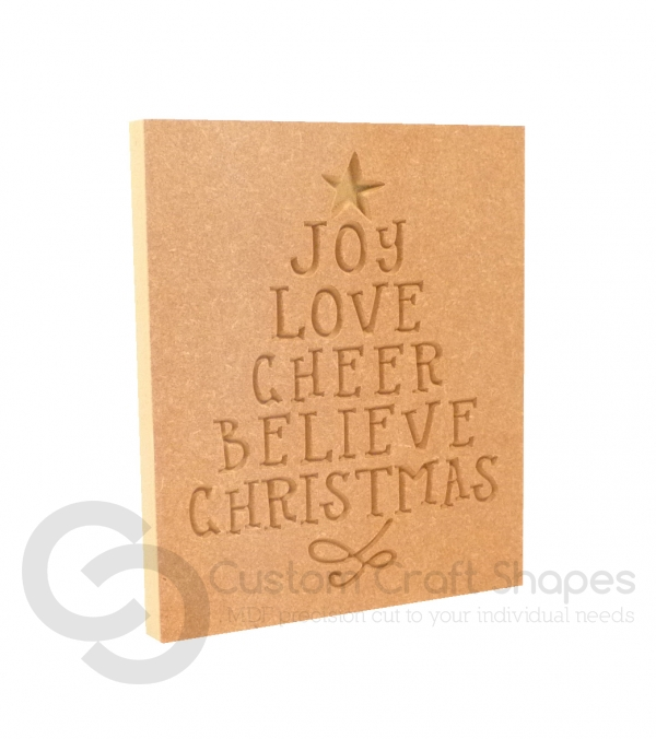 Christmas Word Tree, Engraved Plaque (18mm)
