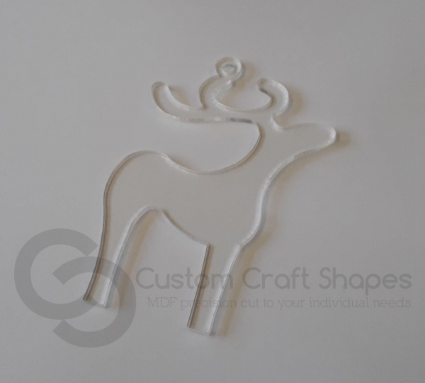 Clear Acrylic Reindeer (3mm)