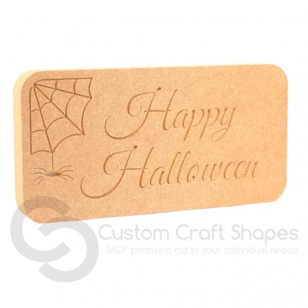 COBWEBS 'Happy Halloween' Freestanding Plaque (18mm)
