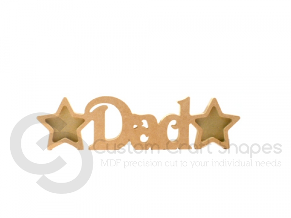 Dad Photo Frame with 2 Stars, Victorian Font (18mm)