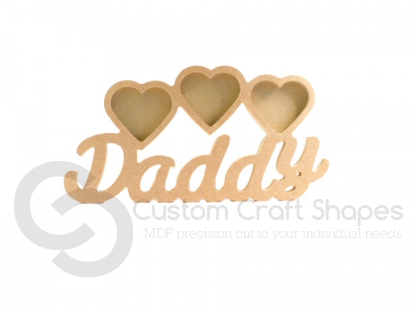 Daddy Photo Frame with 3 Hearts, Susa Font (18mm)