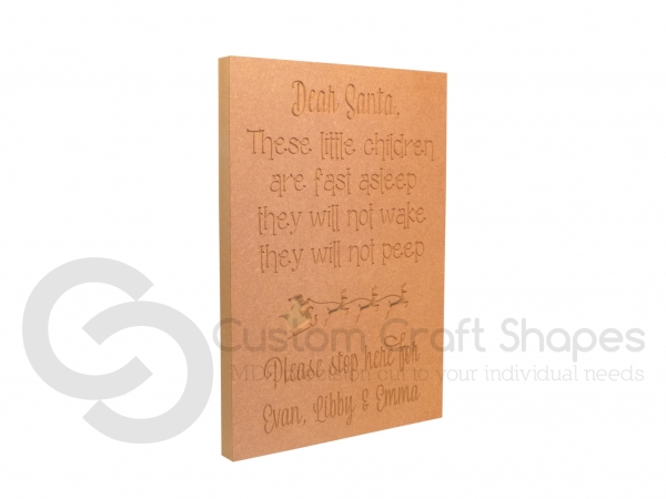 'Dear Santa, These little...' Large Engraved Plaque (18mm)