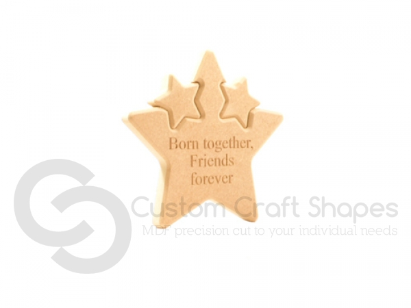 Double Interlocking Star, Engraved, 'Born together, Friends forever' (18mm)