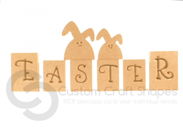 Easter Blocks with 2 Lop Eared Bunnies (18mm)