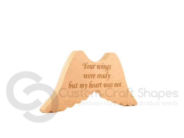 "Engraved Angel Wings ""Your wings were ready..."" (18mm)"