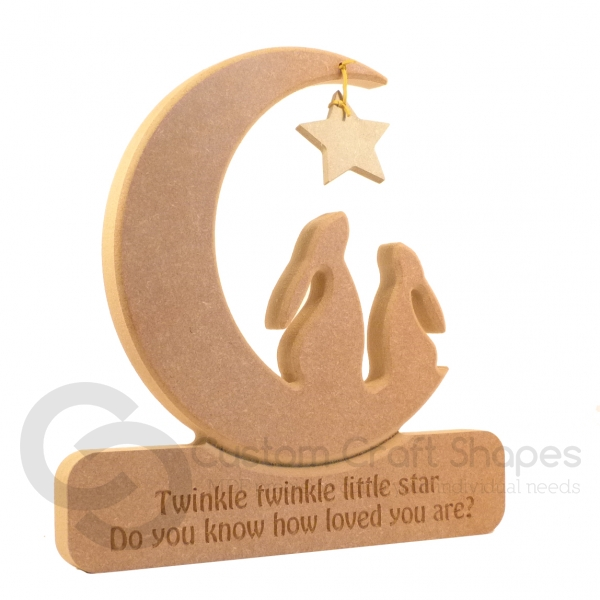 Engraved DOUBLE Hare in a Moon, 'Twinkle Twinkle...' (18mm)