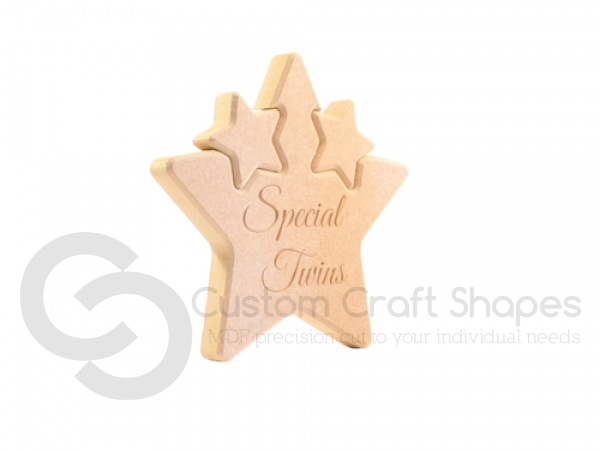 Double Interlocking Star, Engraved 'Special Twins' (18mm)