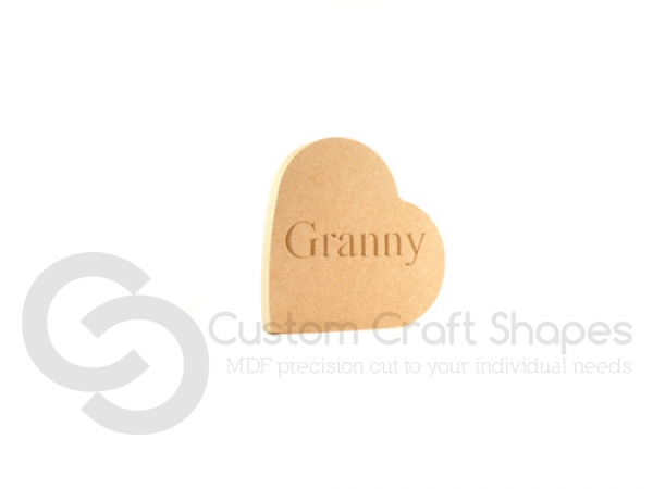 Engraved Freestanding Heart on the side - Granny (18mm)
