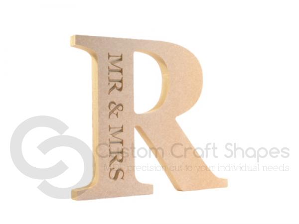Mr & Mrs, Engraved Letter (18mm)