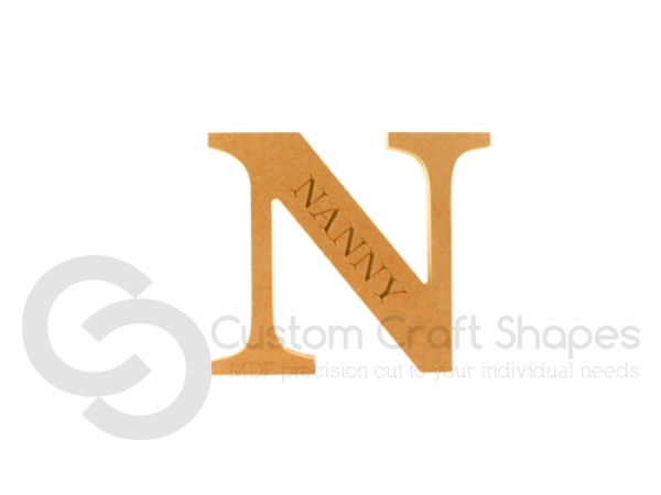 Engraved Georgian Bold Letter N, Nanny (18mm)
