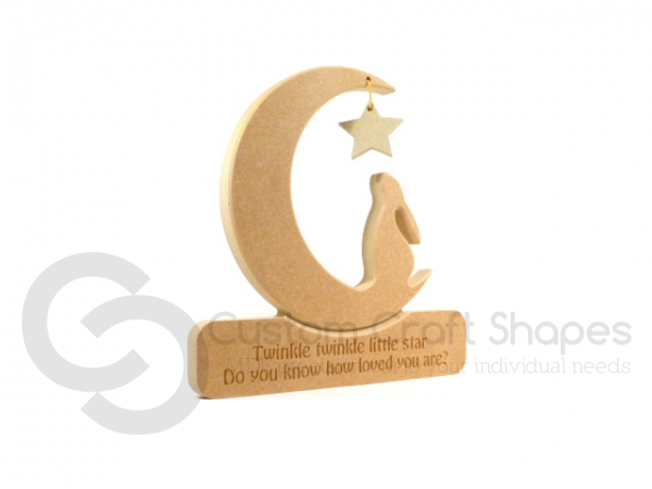 Engraved Hare in a Moon 'Twinkle Twinkle Little Star...'  (18mm)