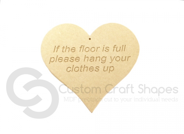 Engraved Heart, 'If the floor is full...' (6mm)