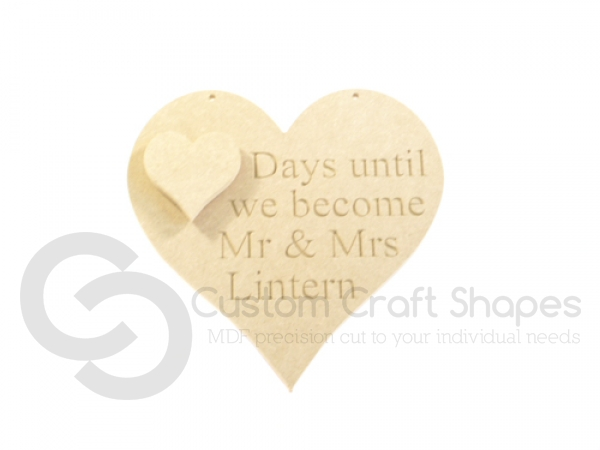 Days until we become Mr and Mrs,  Engraved Heart (6mm)