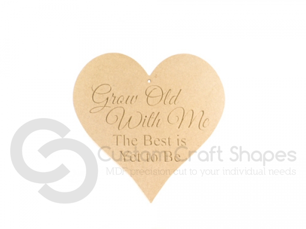 "Engraved heart: ""Grow old with me..."" (6mm)"