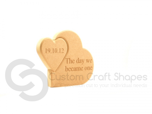 Engraved Interlocking Hearts 'The day we became one' (18mm)