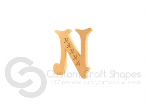 Engraved Letter N, Nanna (18mm)