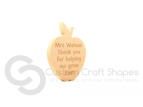 "Personalised Freestanding Apple Shape ""Miss/Mrs/Mr... Thank you for..."" (18mm)"