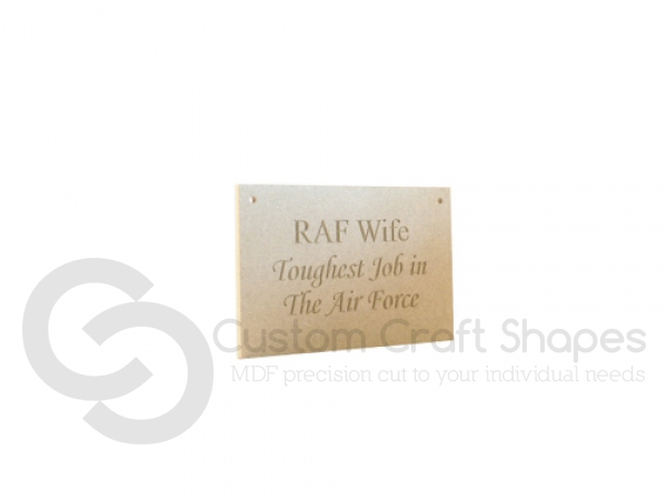 "Engraved plaque, ""RAF Wife..."" (6mm)"