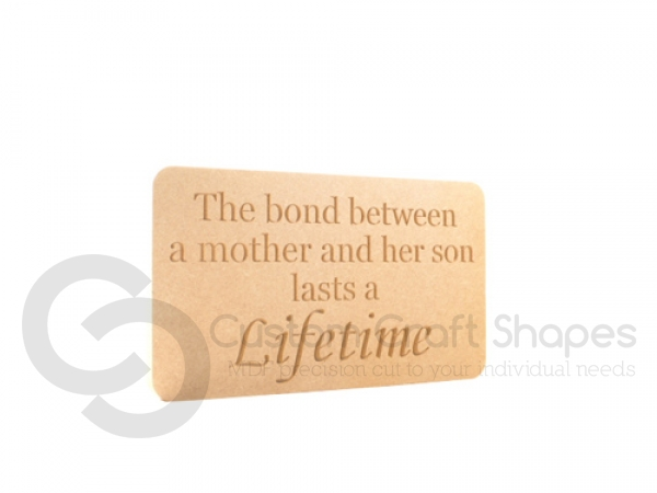 'The bond between a Mother and her Son...' Engraved Plaque (18mm)