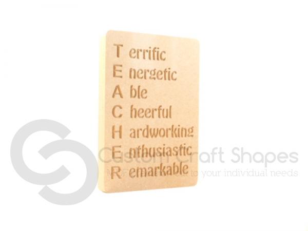 """""""TEACHER Acrostic' Engraved Plaque (18mm)"""