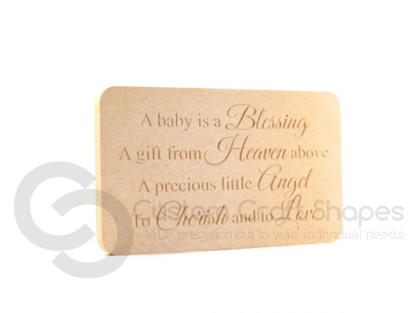 Engraved plaque, rounded corners, 'A baby is a blessing...' (18mm)