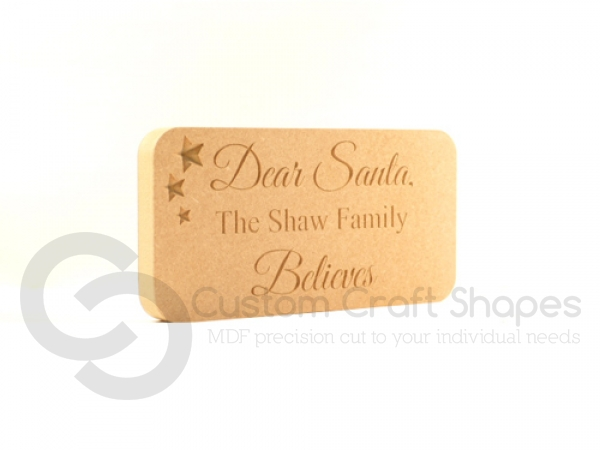 Engraved plaque, rounded corners, 'Dear Santa...' (18mm)