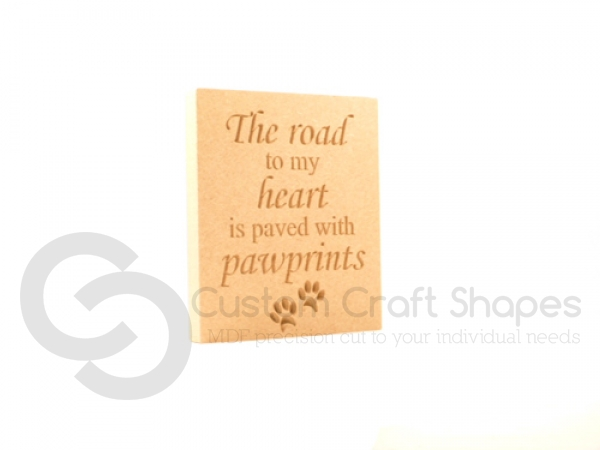 Engraved Plaque, Squared Corners, 'The road to my heart...' (18mm)