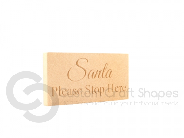 "Engraved Plaque with Squared corners ""Santa Please Stop Here"" (18mm)"