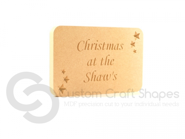 Engraved Plaque with stars, 'Christmas at the ...' (18mm)