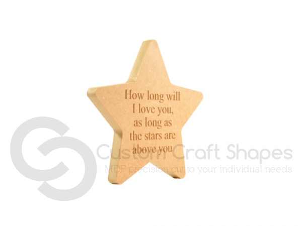"Engraved Rounded Point Star 'How long will I love you.."" (18mm)"