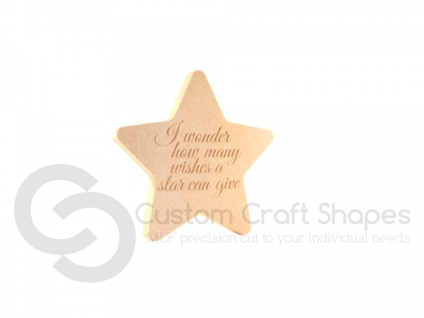"""I wonder how many wishes..."" Engraved Star (18mm)"