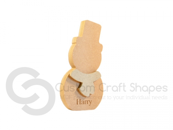 Engraved Snowman with Scarf (18mm + 6mm)