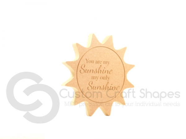 "Engraved Sun Shape ""You are my sunshine.."" (18mm)"
