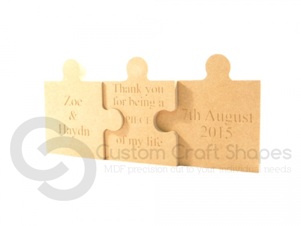 Triple Jigsaw Pieces, Engraved (18mm)