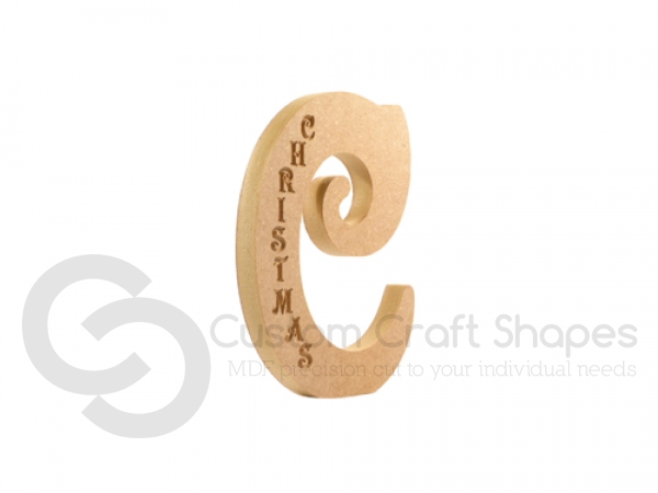 Victorian Letter C, Engraved Christmas (18mm)