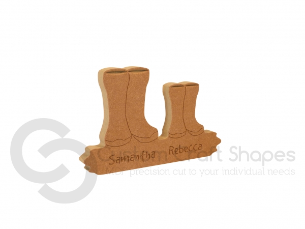 Engraved Wellies On A Puddle Plinth (18mm)