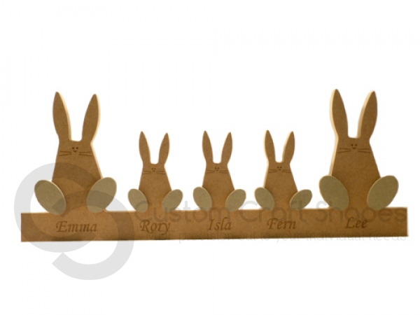 Engraved Wonky Bunny Family on a Plinth (18mm)