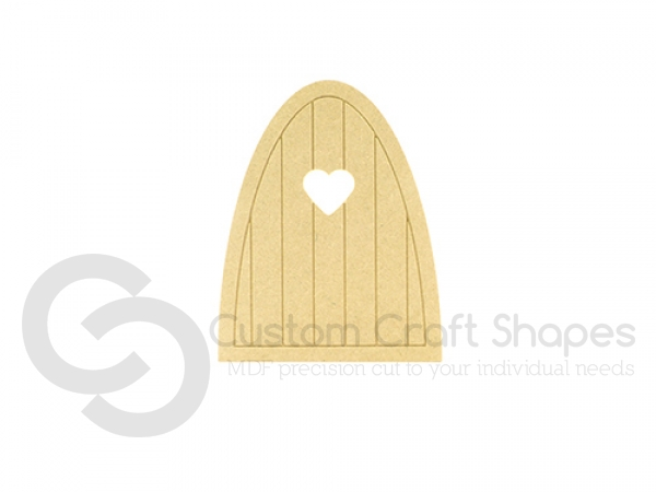Fairy Door with groove and planks with Heart (6mm)