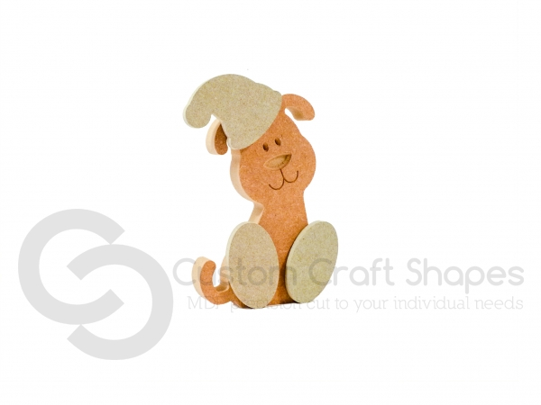 CHRISTMAS Wonky Dog with Engraved Face and 3D Feet/Hat (18mm)