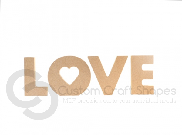 Freestanding Chunky font Love with heart cut out of O (18mm)