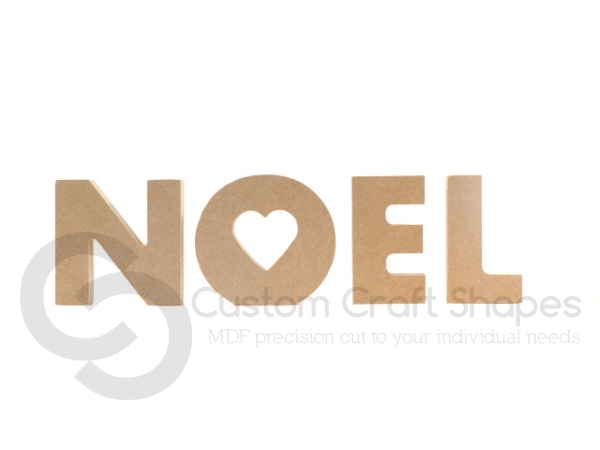 Freestanding Chunky font Noel with heart cut out of O (18mm)