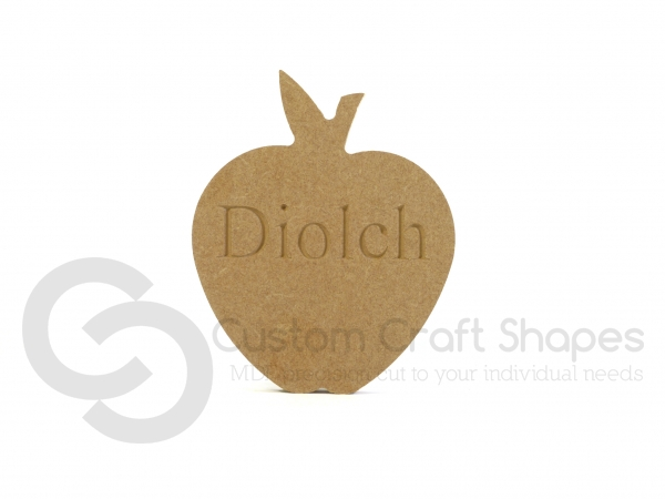 Diolch, Engraved Apple Shape (18mm)