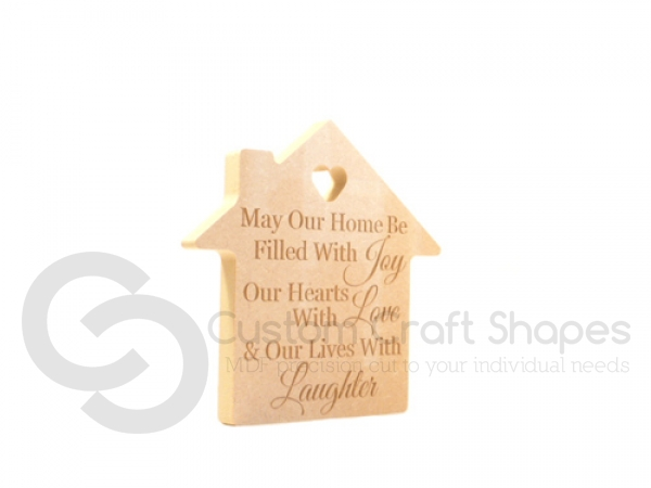 "Freestanding Engraved House, ""May our home..."" (18mm)"