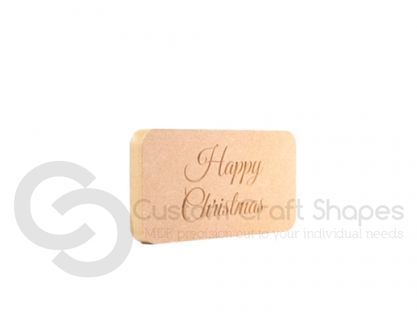 Freestanding, Engraved Plaque: Happy Christmas (18mm)