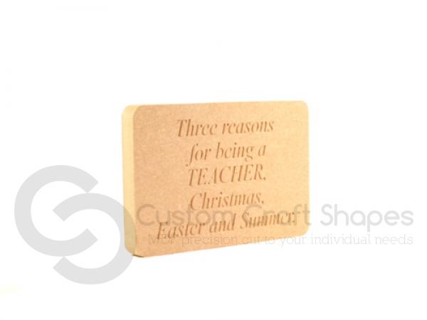 Freestanding Engraved Rectangular Teachers Plaque (18mm)